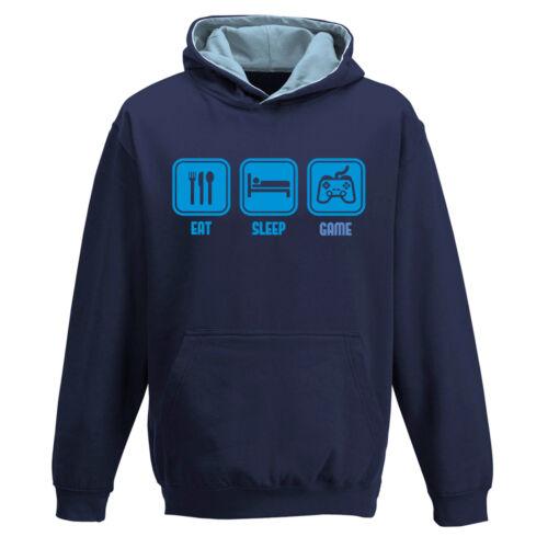 Eat Sleep video GAME xbox gamer gaming two tone navy blue hoody hoodie kids