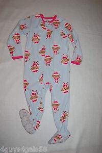 ebecc600e Toddler Girls BABY BLUE BLANKET SLEEPER Pink MONKEYS Footie Pajamas ...