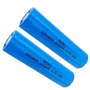 2x-PKCELL-High-Drain-ICR18650-Li-ion-Battery-Flat-top-2200mAH-3-7V-10A