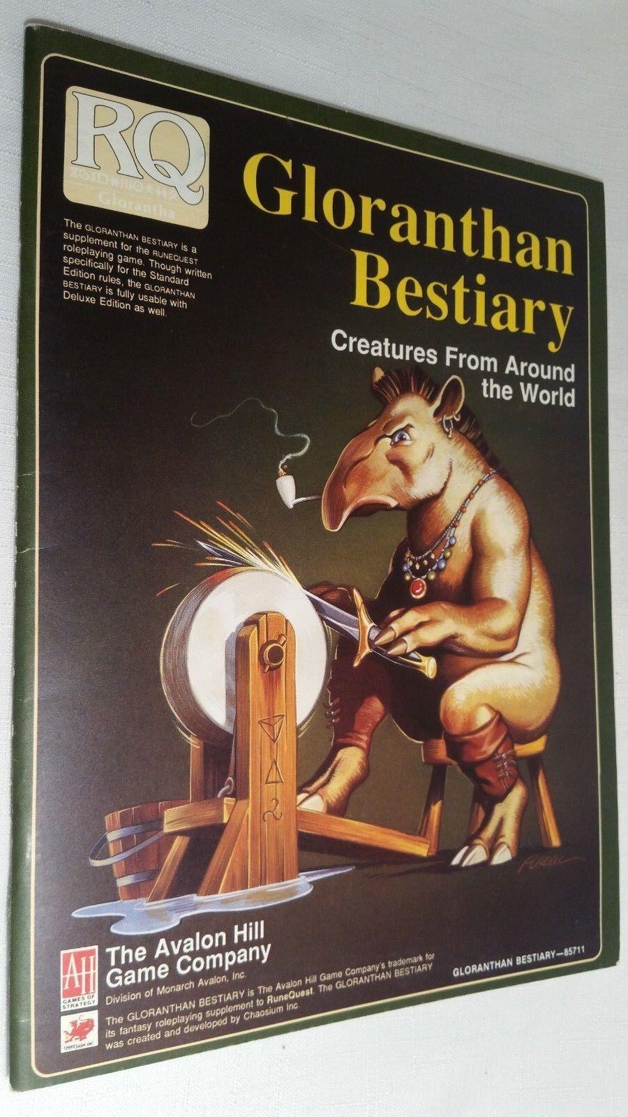 Avalon Hill RuneQuest Gloranthan bästiary bok 1988 Nära Mint Sällsynt