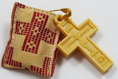 Φυλαχτό Gold Tapestry Orthodox Charm or Amulet With the Holy Cross and Myrrh