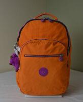 Kipling Bp3907 Seoul Deep Tangerine Orange Backpack With Laptop Protection