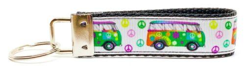 "VW Bus Key Fob Wristlet Keychain 1 1//4/""wide Zipper pull Camera strap"