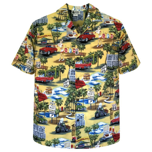500-3699 Route 66 Vintage Tropical Classic Nostalgic Hawaiian Shirt Blue Yellow