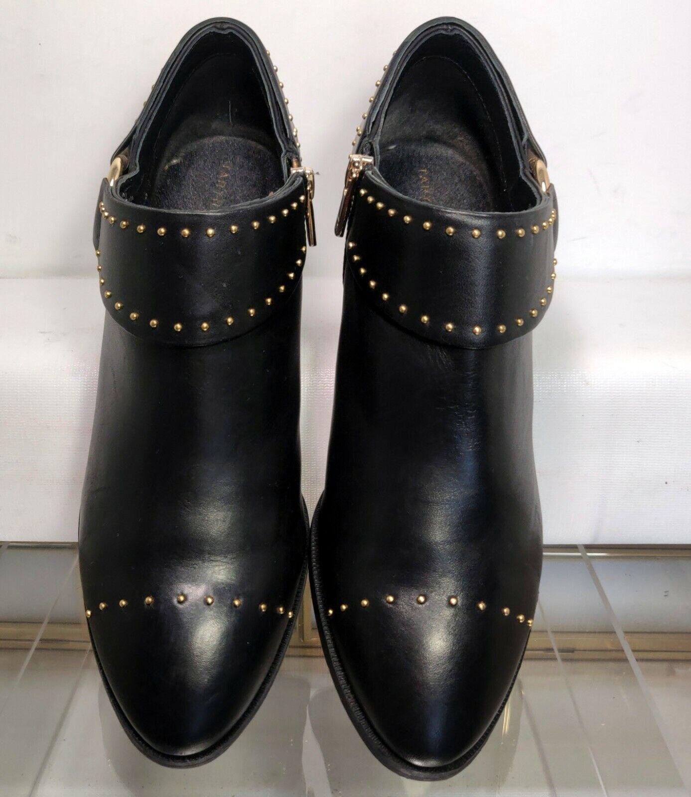Taryn Rose Sage Black Leather Studded Booties Women US 8.5 Minimal Wear
