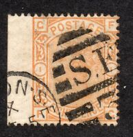 1876  Sg 156- 8d orange plate 1 ( F G ) scarce wing margin with straight edge as