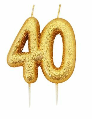 Remarkable 9Cm Gold Glitter Number 40 Candle 40Th Birthday Party Cake Funny Birthday Cards Online Aeocydamsfinfo