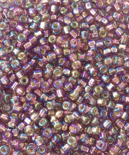 8//0 Japanese seed Beads Silver Lined LT Amethyst rainbow Round Beads 28Grams