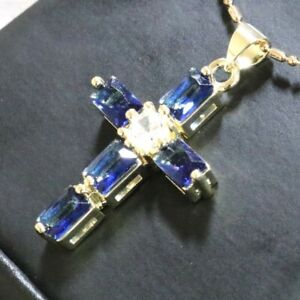 Gorgeous-Blue-Sapphire-Cross-Necklace-Women-Engagement-Jewelry-14K-Gold-Plated