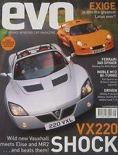 EVO magazine 09/2000 featuring Vauxhall VX220, Nobel M12 GTO, Lotus Exige, Elise