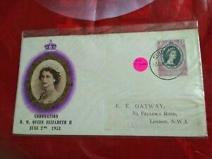 Malaysia-Malaya-1953-Coronation-SINGAPORE-Elizabeth-QE-FDC-TRENGGANU-TERENGGANU