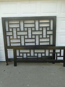 Image Is Loading Geometric Queen Size Bed Headboard Black Oriental Fretwork