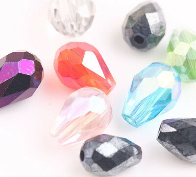 50/100Pcs  Faceted Glass Crystal Charm Findings Teardrop Spacer Loose Bead 6/8mm