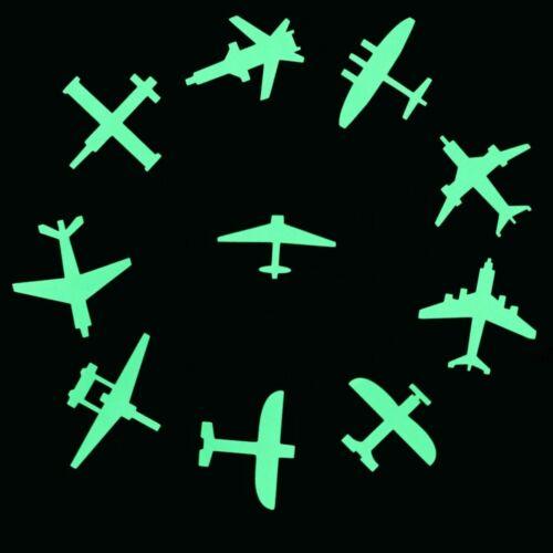 10pcs Airplanes Luminous Wall Sticker Switch Decoration Sticker Glow in the Dark