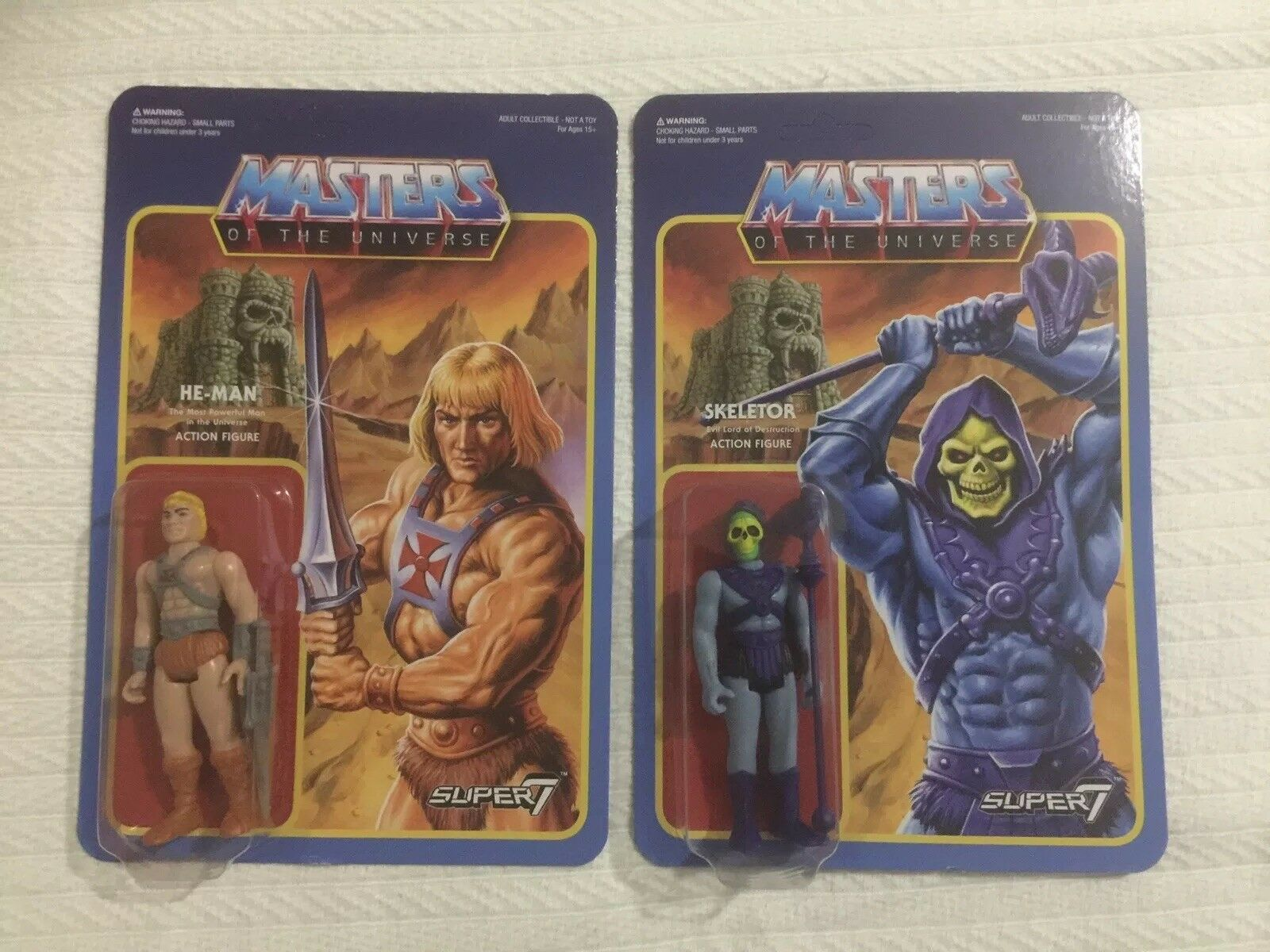 Masters Of The Universe He Man & Skeletor classic style Super7 ReAction