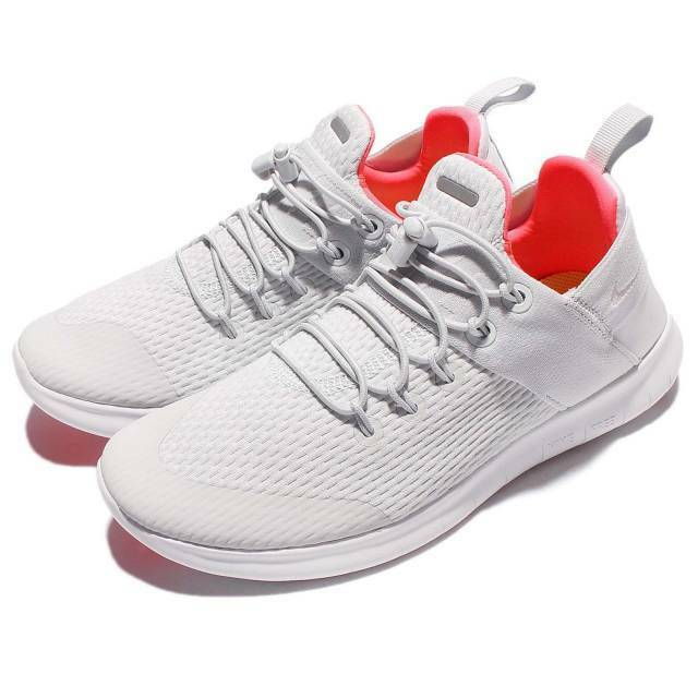 WOMENS NIKE FREE RN CMTR 2017 SIZE 5 EUR 38.5 880842 004)PURE PLATINUM/HOT PUNCH