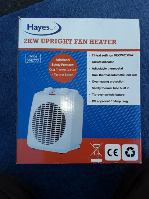 Hayes UK 998772 2kW Upright Electric Fan Heater White BRAND NEW IN BOX