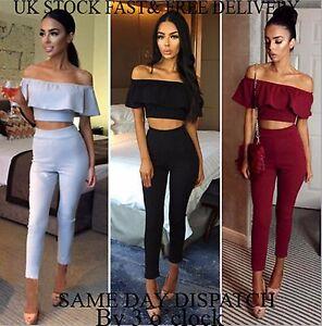 UK-Women-Crop-Top-Bardot-2-Piece-Frill-Shoulder-Suit-Pencil-Crop-Top-and-Legging