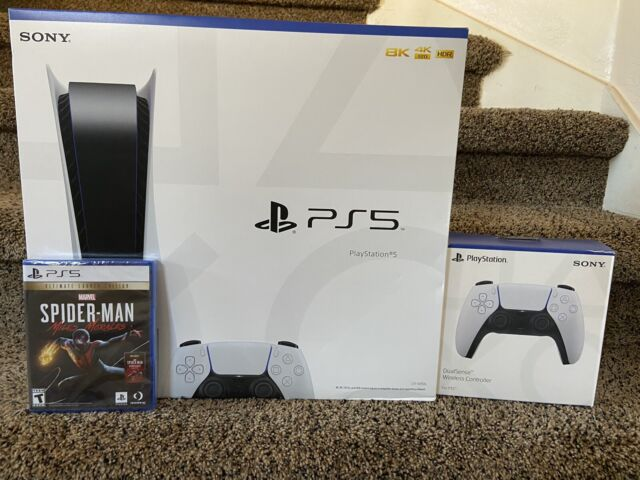 Sony PS5 Disc Edition Bundle w/ extra DualSense Controller, Spiderman Ultimate