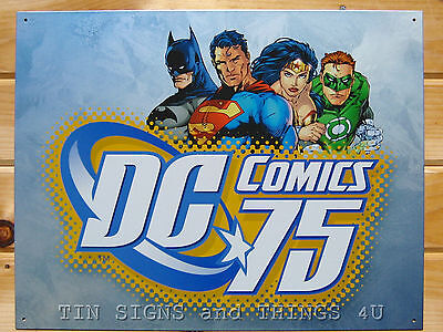DC Comics 75th Batman Superman Wonder Woman Green Lantern TIN SIGN poster 1651