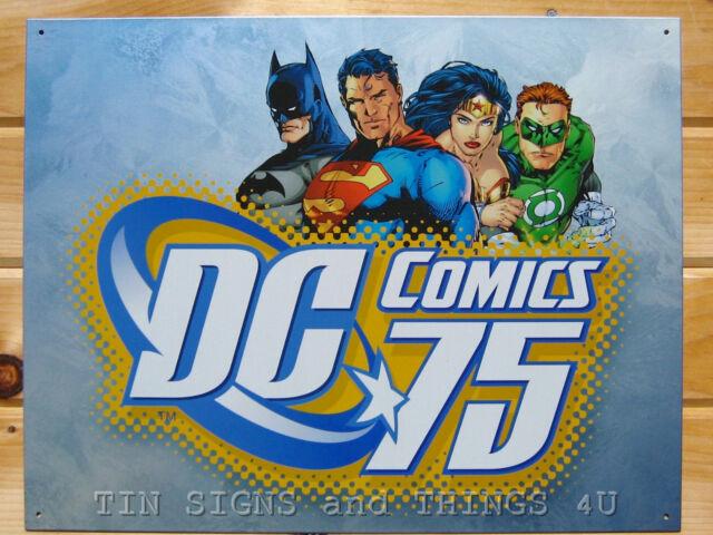 DC Comics 75 Batman Superman Wonder Woman Green Lantern TIN SIGN bar poster 1651