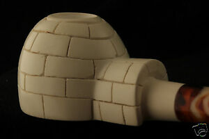 IGLOO-Eskimo-House-Hand-Carved-Block-Meerschaum-Pipe-in-a-fitted-Case-4430-pipa