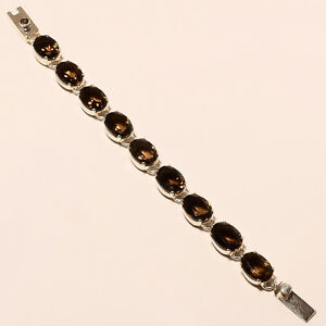 NATURAL-SMOKY-QUARTZ-SOLID-925-STERLING-SILVER-BRACELET-JEWELRY-7-00