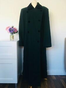 Vintage-dark-Green-100-Wool-Coat-size-16-Long-Full-Jacket-Winter-black-velvet