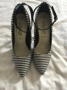 New-Look-Ladies-Heels-Black-Stripe-Shoes-UK-3-EUR-36