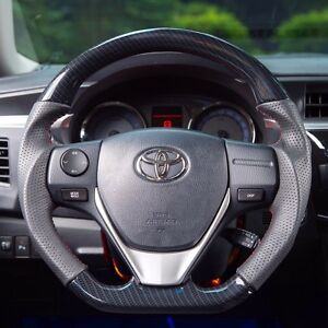 Details About Mit Toyota Corolla 14 18 Carbon Fiber Look Genuine Leather Steering Wheel Sports