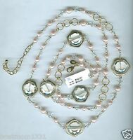 Joan Rivers Captured Brilliance Creamy Pink Faux Pearl 47 Goldtone Necklace