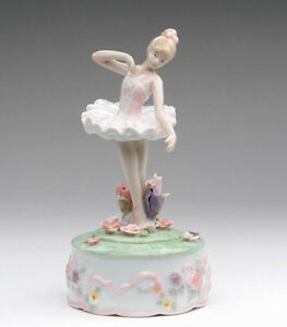 Details about ♫ New MUSIC BOX Porcelain BALLERINA WATER LILY Vintage Style  MUSICAL FIGURINE