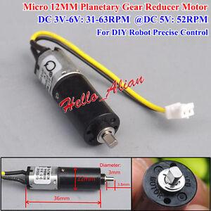 DC3V ~ 6 V 5 V 52 tr//min N20 Mini 12 mm Planetary Gearbox Gear moteur vitesse lente À faire soi-même Robot