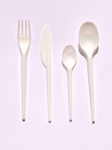 Blanc couverts en plastique!! jetables cuillères fourchettes couteaux Parties BBQ-Variations