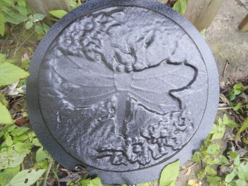 """Dragonfly stepping stone mold  plaster concrete casting mould 12/"""" x 2/"""""""