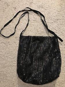 49dc9370c49b Image is loading Black-Sequin-Soft-Bucket-Bag-Cross-Body-h-s-