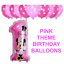 Disney Mickey//Minnie Mouse Number Foil Balloon Pink//Blue 1st Birthday Baloon all
