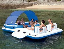 Inflatable Raft Lounge Floating Island Extra Wide Pillow River Lake Boat 6People