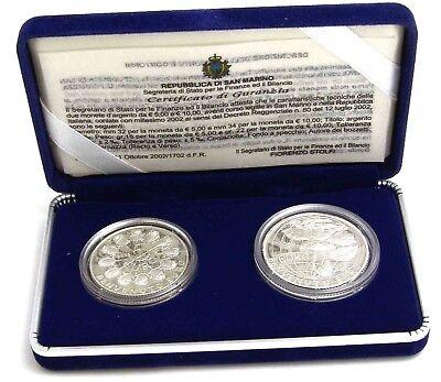 San Marino 5 Und 10 Euro Silber 2002 Pp Willkommmen Euro Satz üBerlegene Materialien San Marino Nach Euro-einführung