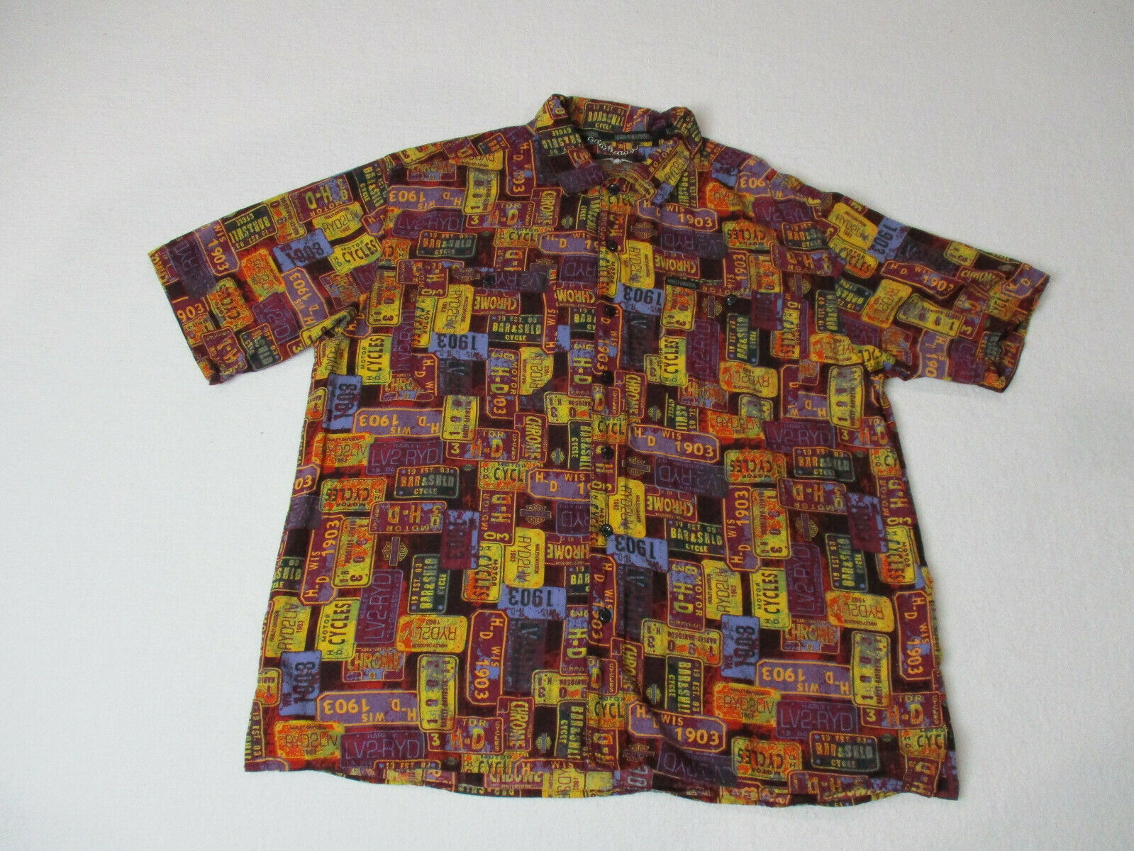 Harley Davidson Button Up Shirt Adult Extra Large Red Yellow Biker Motorcycle