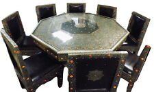 8 Chair Moroccan Octagonal Table Silver Arabesque Engraved Metal Dining Set