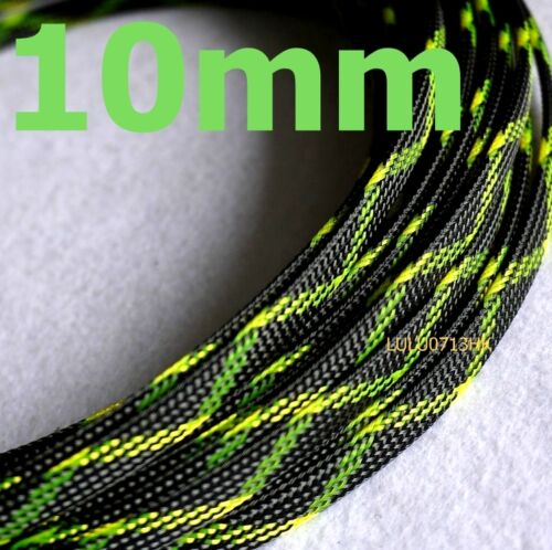 10 Mm X 5m Negro Verde Expandible Trenza denso Cable Manga Audio ALAMBRE DE PC DIY