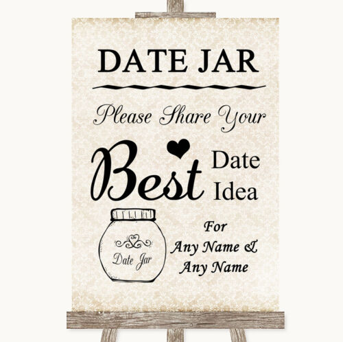 Shabby Chic Ivory Date Jar Guestbook Personalised Wedding Sign