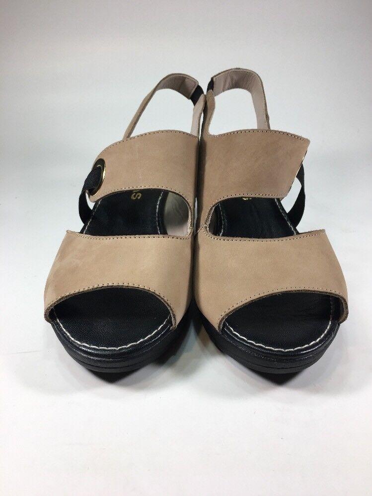 Sabrinas Sabrinas Sabrinas London NEW  179 Tan Leather Wedges Womens Size 6.5 M EU37 a070e1