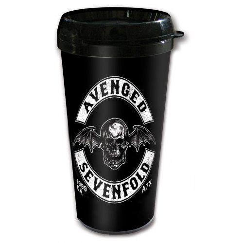 café blanco viaje negro logotipo banda palo muerte  Avenged Sevenfold bebe taza