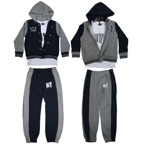 Childrens Kids Boys Hoodie Jacket T Shirt Top Bottoms Tracksuit 3 Pieces Jogging