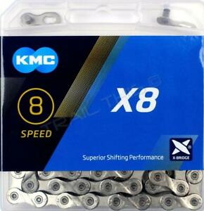 KMC-X8-99-Silver-5-6-7-8-Speed-Nickel-Plated-Bike-Chain-fits-Shimano-SRAM-Campy