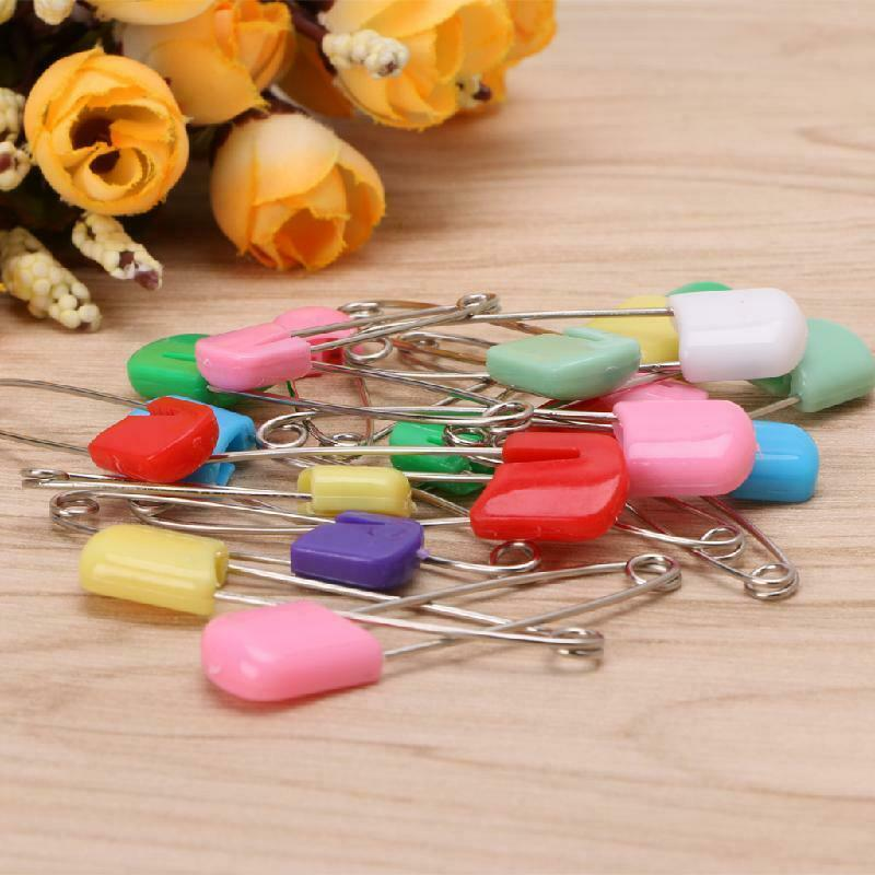 UZZO 50 Pack Colorful Safety Pins Baby Child Infant Kids Plastic Head Cloth Diaper Pins Safety Safe Hold Clip Locking Cloth Stainless Steel Traditional Safety Pin,Color Random Send