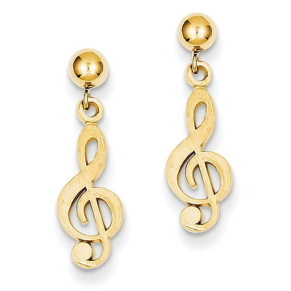 14k Yellow gold Polished & Satin Treble Clef Dangle Post Earrings 22mm x 6mm