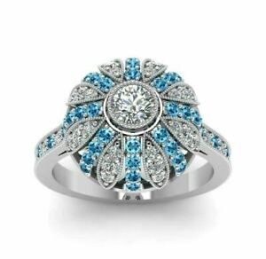 2.8 Ct White Round Cut and Aqua Blue Wedding Solitaire Ring 925 Sterling Silver